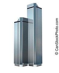 twin skyscraper - twin business skyscraper isolated on white...