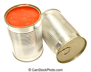 Tinned Tomatoes - Tinned chopped tomatoes and juice isolated...