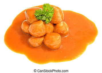 Meatballs And Gravy - Pork meatballs and gravy isolated on a...