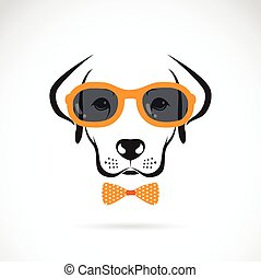 Vector images of dog labrador wearing glasses on white...