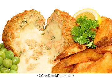 Cheese Filled Salmon Fish Cakes - Salmon and cheese filled...