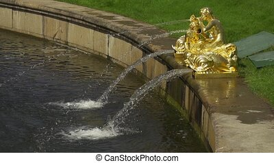 Fountain with statues slow motion