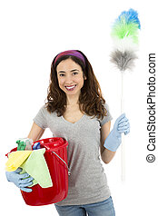 Cleaning woman standing with cleaning tools