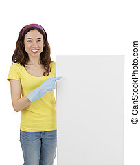 Cleaning woman presenting an advertisement billboard