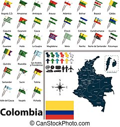 Map of Colombia - Vector map of Colombia with regions and...