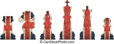 Chess pieces with Great Britain fla