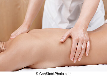 Woman gets back massage - No pain just pleasure Close-up of...