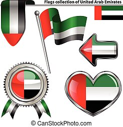 Glossy icons with flag of United Arab Emirates