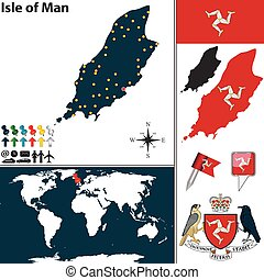Map of Isle of Man - Vector map of Isle of Man with coat of...