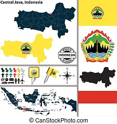 Map of Central Java, Indonesia - Vector map of region...