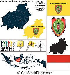 Map of Central Kalimantan, Indonesia - Vector map of region...