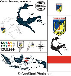 Map of Central Sulawesi, Indonesia - Vector map of region...