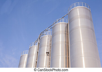 Chemical plant, containers - Detail of chemical plant, silos...