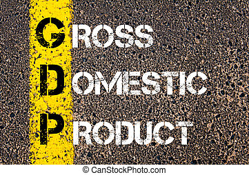 Business Acronym GDP Gross Domestic Product. Yellow paint...