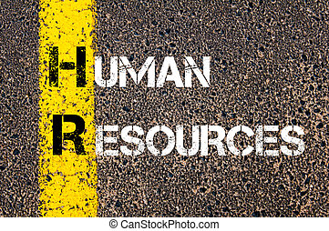 Business Acronym HR Human Resources. Yellow paint line on...