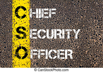 Business Acronym CSO Chief Security Officer Yellow paint...