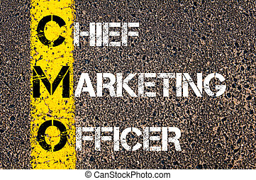 Business Acronym CMO Chief Marketing Officer. Yellow paint...