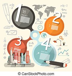 Infographics Vector Template - Layout with City, World Map and Technology Icons
