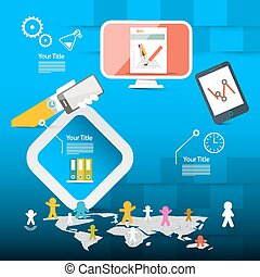 Blue Vector Web Page Layout or Brochure Report Infographics Template with Technology Icons and World Map