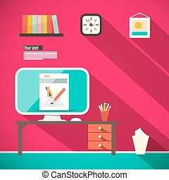 Studying Room - Office with Computer and Table Retro Flat Design Vector Illustration