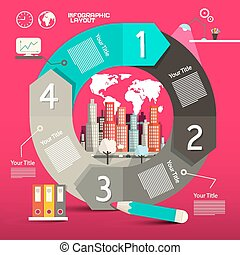Circle Paper Retro Infographics Vector Template - Layout with City and Icons with World Map
