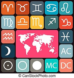 Zodiac - Horoscope Rounded Square Vector Icons Set and World Map on Dark Background