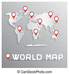 Vector Paper Cut World Map with Bent Corners on Grey...