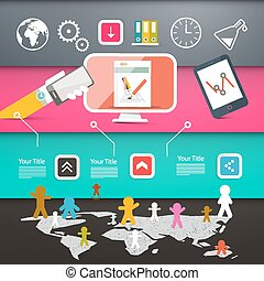 Web Page Layout with Technology Icons on Colorful Papers Background with World Map and People