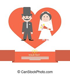 Red Retro Flat Design Wedding Card Vector Illustration with Groom and Bride in Heart on White Background