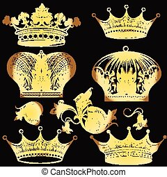 Collection of heraldic golden crown - Vector set of crowns...