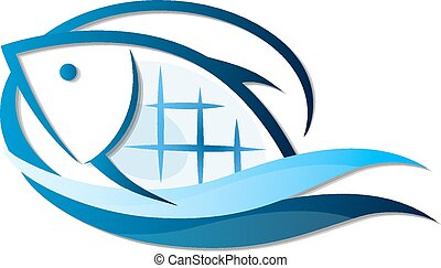 fish symbol - Fish on waves of symbols for the business