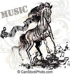 Music background with running horse