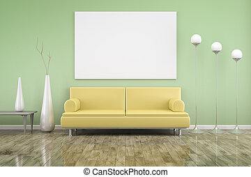 room and sofa - 3D rendering of a green room with a yellow...