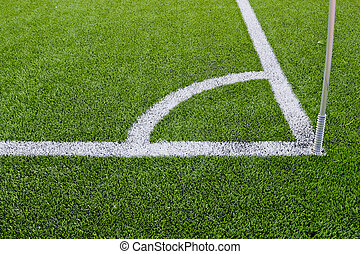 Corner boundary markings of grass soccer field