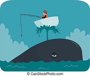 Boat on a whale - Cartoon image of a little boat on a whale...