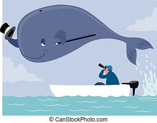 Whale poser - Cartoon image of a whale posing for a...