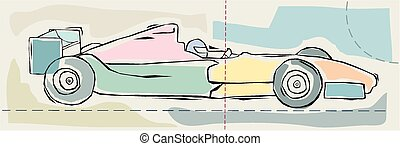Formula one - A pastel coloured sketchy image of a formula...
