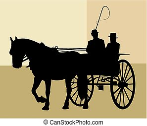 Horse and trap - A silhouette image of a horse and trap.