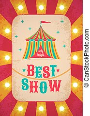 Retro circus poster with tent