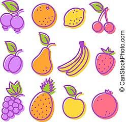 Set icons fruit