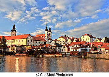 Town of Telc at sunset, Czech Republic, UNESCO
