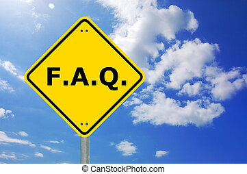 faq sign - faq written on yellow road sign with copyspace...