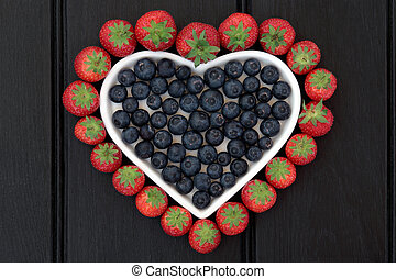 Super Food - Blueberry and strawberry antioxidant fruit in...