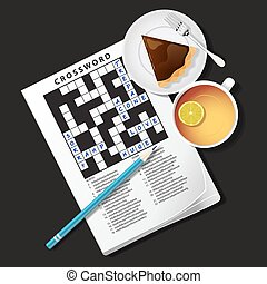 illustration of crossword game, mug of tea and pie - top...