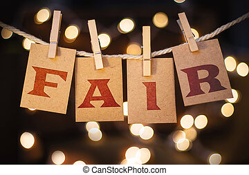 Fair Concept Clipped Cards and Lights - The word FAIR...