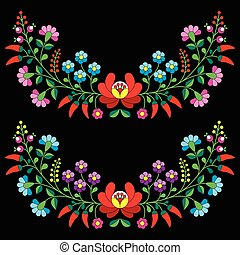 Hungarian floral Kalocsai pattern - Vector background -...