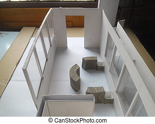 Architecture model with round seating space and large...