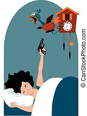 Tired woman and a cuckoo clock - Grumpy woman with curly...