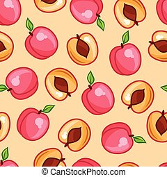 Seamless pattern with stylized fresh ripe peaches