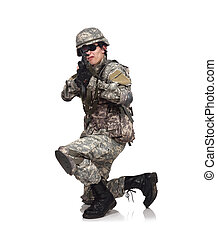 soldier aiming with rifle on a white background
